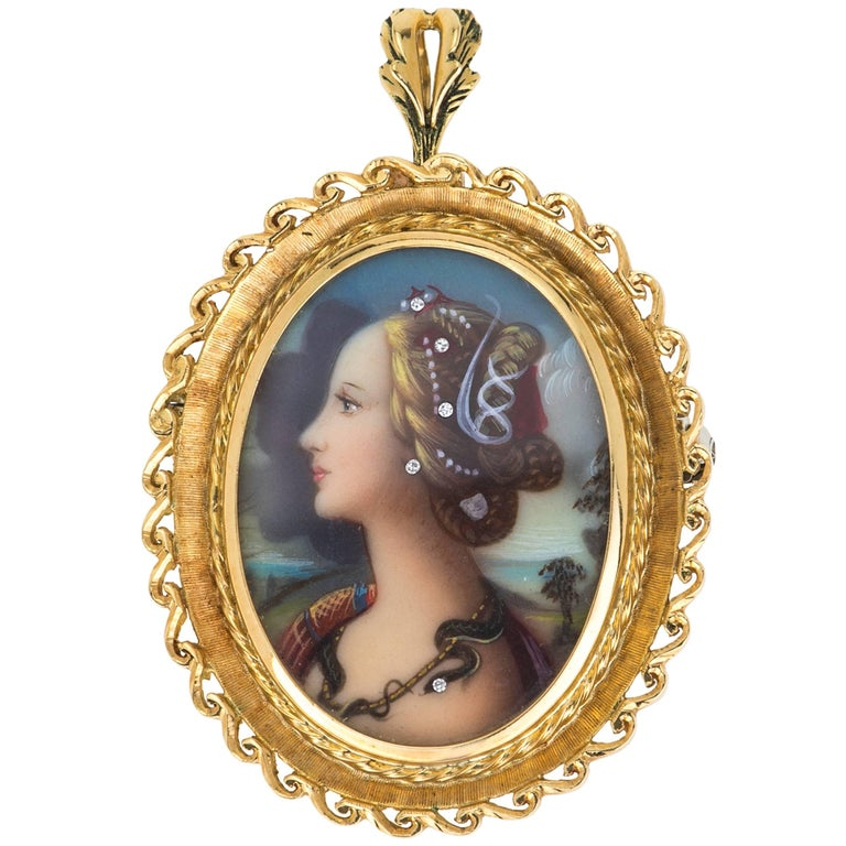 18 Karat Gold and Diamond Painted Cameo Brooch Pendant