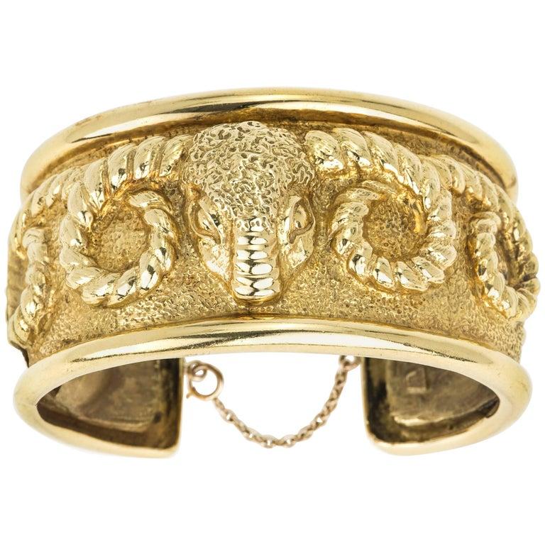 18 Karat Gold Aries Ram's Head Cuff Bracelet