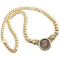 Bulgari Ancient Roman Coin Yellow Gold Link Necklace