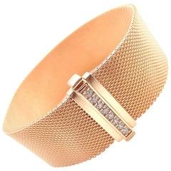Tiffany & Co. Somerset Diamond Wide Mesh Rose Gold Bracelet