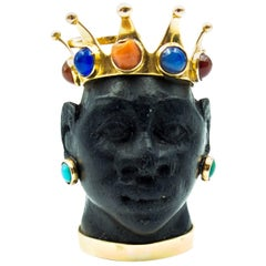 Regal Jeweled Crown Moor's Head Pendant