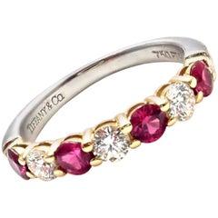 Tiffany & Co. Diamond Ruby Platinum Yellow Gold Band Ring