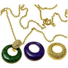 Van Cleef & Arpels Diamond Malachite Lapis Lazuli 18 Karat Pendant Necklace