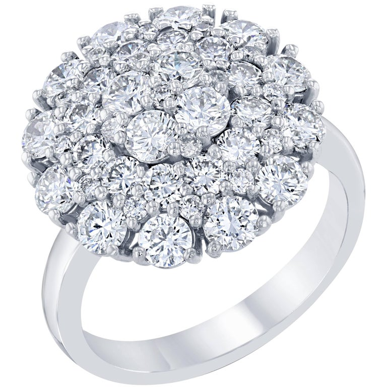 2.67 Diamond Cocktail Dome Ring For Sale