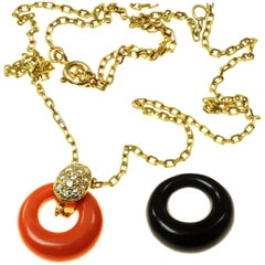 Van Cleef & Arpels Diamond Coral Onyx Yellow Gold Pendant Necklace
