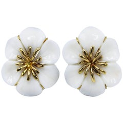 Carved White Coral and Gold Flower Earclips