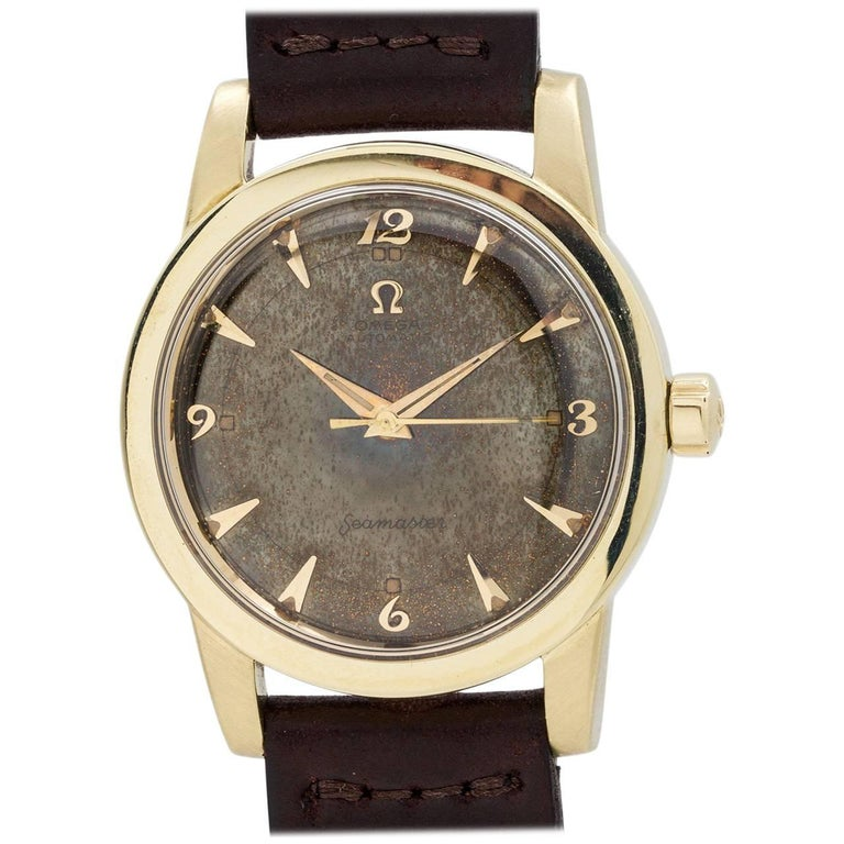 Omega Seamaster Yellow Gold Stainless Steel Tropical Chocolate Dial Wristwatch