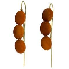 Angela Pintaldi Natural Amber Modernist Pendant Earrings