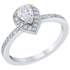 0.78 Carat Pear Cut Solitaire Diamond Ring