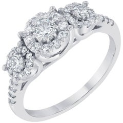 Three-Stone Diamond Round Invisible Ring