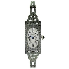 Shreve & Company Ladies Platinum Art Deco Diamond Watch, circa 1930s