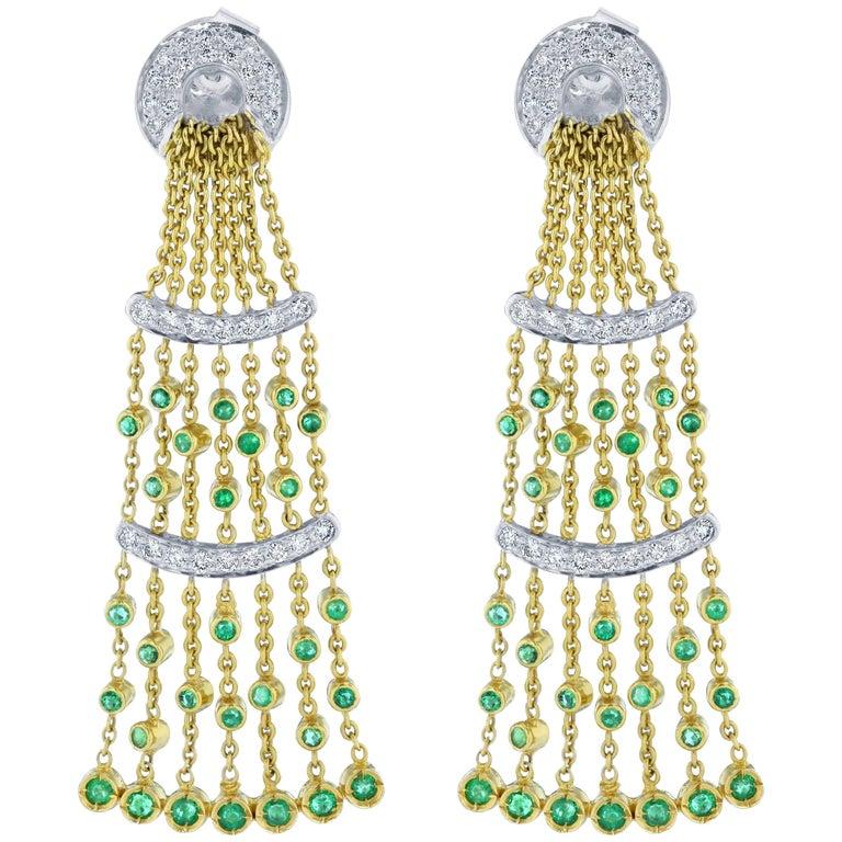 Emerald Diamond Dangle Earrings