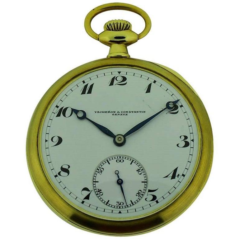 Vacheron Constantin Yellow Gold High Grade Open Faced Manual Pocket Watch
