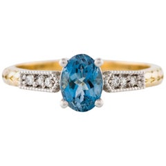 Kian Design Art Deco Platinum and Yellow Gold Aqua Marine Diamond Ring