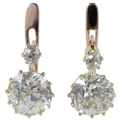 Victorian 3.90 Carat Plus Diamond J/K VVS Earrings
