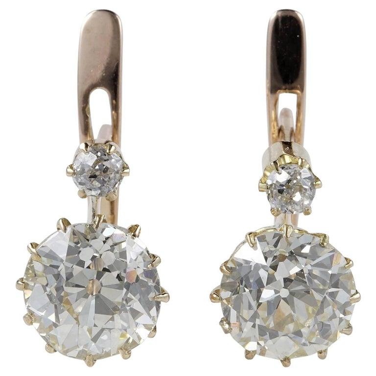 Victorian 3.90 Carat Plus Diamond J/K VVS Earrings