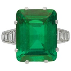 Exceptional Colombian Emerald and Diamond Ring, circa 1930