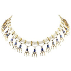 Edwardian Natural Sapphire Seed Pearl Rare Necklace