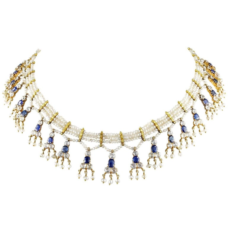 Edwardian Natural Sapphire Seed Pearl Rare Necklace For Sale
