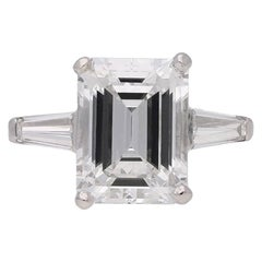 Vintage Emerald-Cut Diamond Solitaire Ring, circa 1960