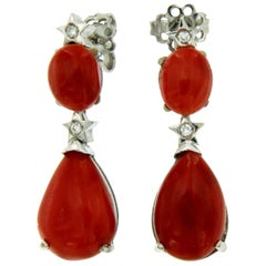 Sardinian Coral Diamond Gold Drop Earrings