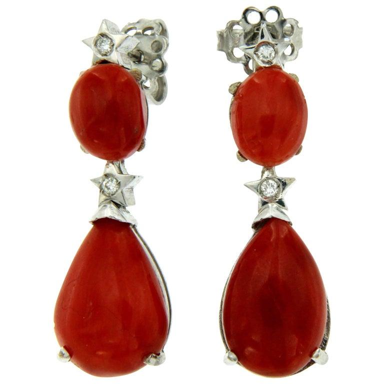 Sardinian Coral Diamond Gold Drop Earrings