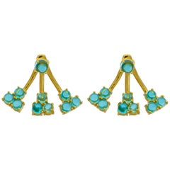 Jacket Earrings 18 Karat Yellow Gold Vermeil London Blue Amethyst Drop Earrings