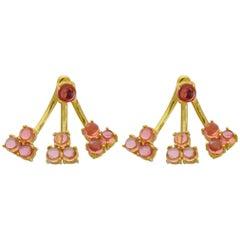 Jacket Earrings 18 Karat Yellow Gold Vermeil Pink Tourmaline Drop Earrings