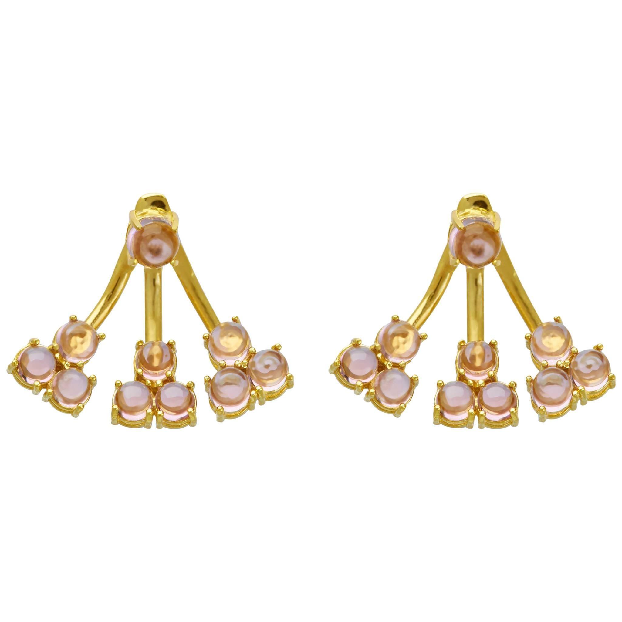 Jacket Earrings 18 Karat Yellow Gold Vermeil Purple Amethyst Drop Earrings