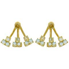 Jacket Earrings 18 Karat Yellow Gold Vermeil Aqua Blue Drop Earrings