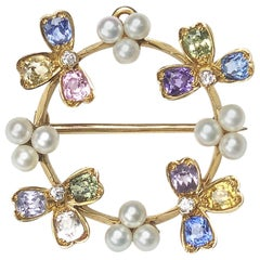 Tiffany & Co. Gem Set Pearl Pendant Brooch