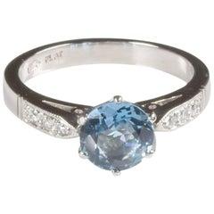 Platinum Aquamarine and Diamond Engagement Ring
