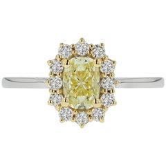 HRD Certified 1 Carat Fancy Yellow Diamond Belle Époque Ring