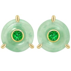 Ana De Costa Circular Jade Disc and Tsavorite and Yellow Gold Stud Earrings