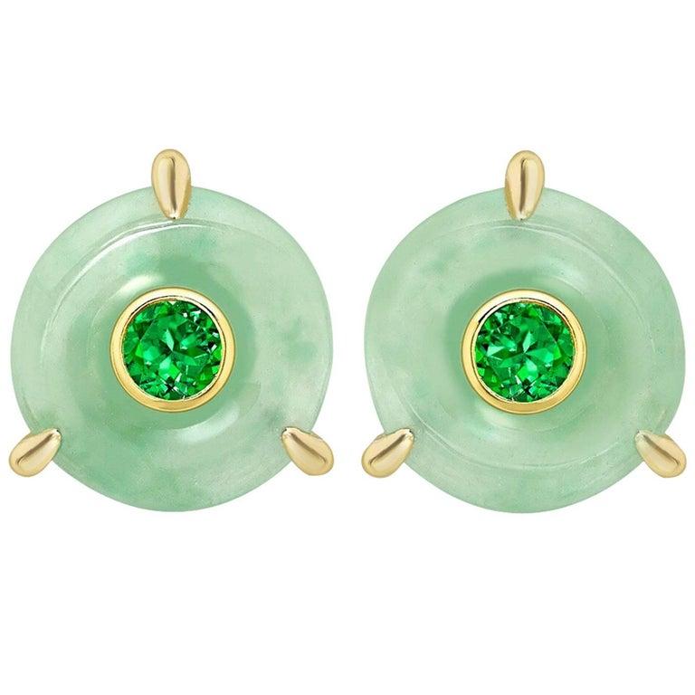 Ana De Costa Circular Green Jade Tsavorite Yellow Gold Stud Earrings For Sale