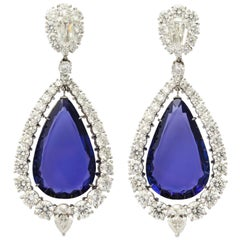 Important Tanzanite and Diamond Platinum Drop Earclips