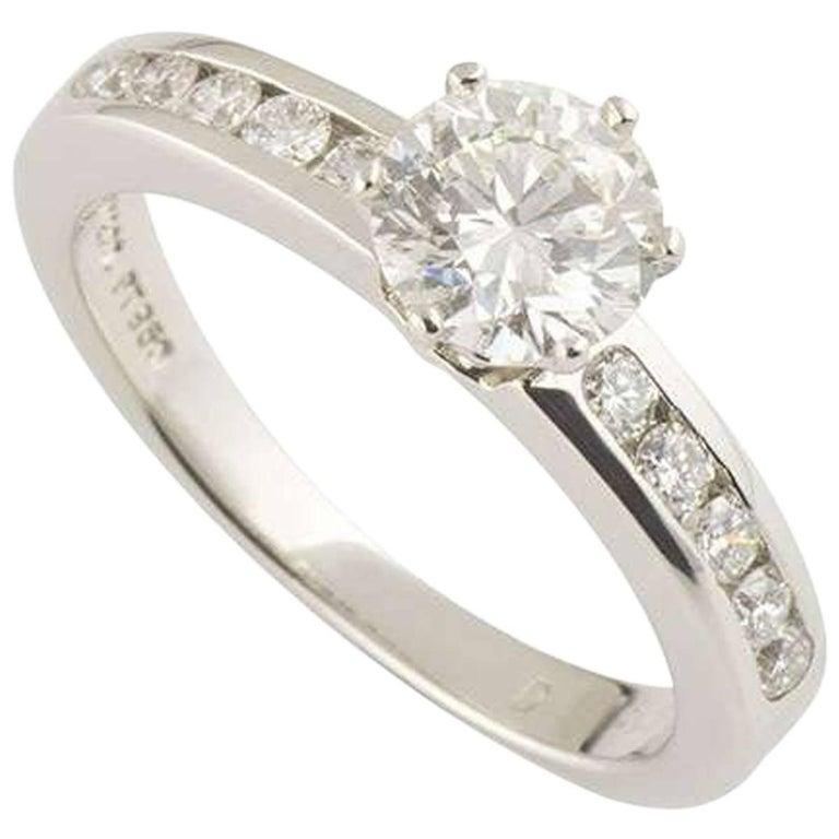 Tiffany & Co. Round Diamond Platinum Ring 0.76 Carat