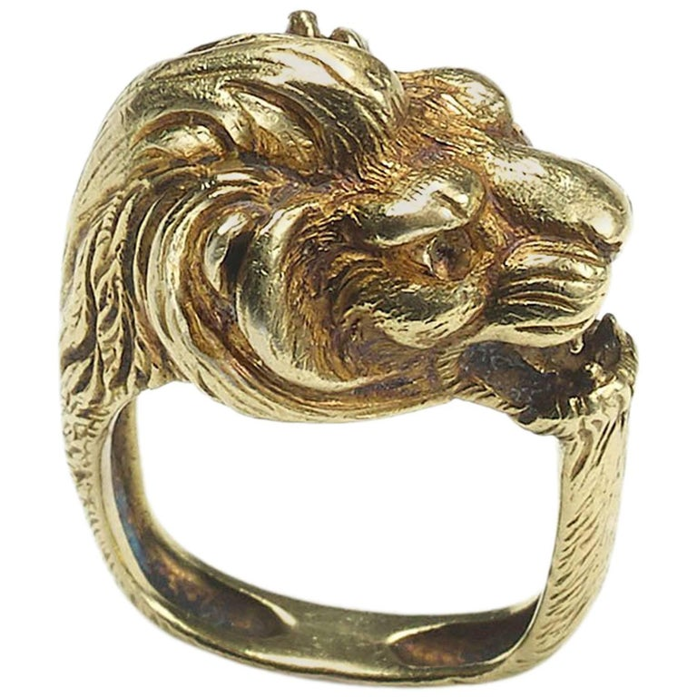 Antique French 18ct Gold Lion Ring