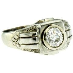 Art Deco Diamond Gold Unisex Band Ring