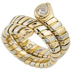 Bulgari White and Yellow Gold Diamond Tubogas Ring