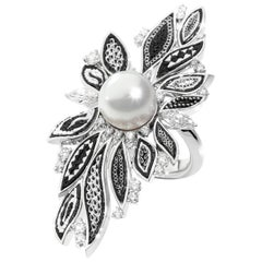 Pearl Black White Micromosaic Diamond Cocktail Ring