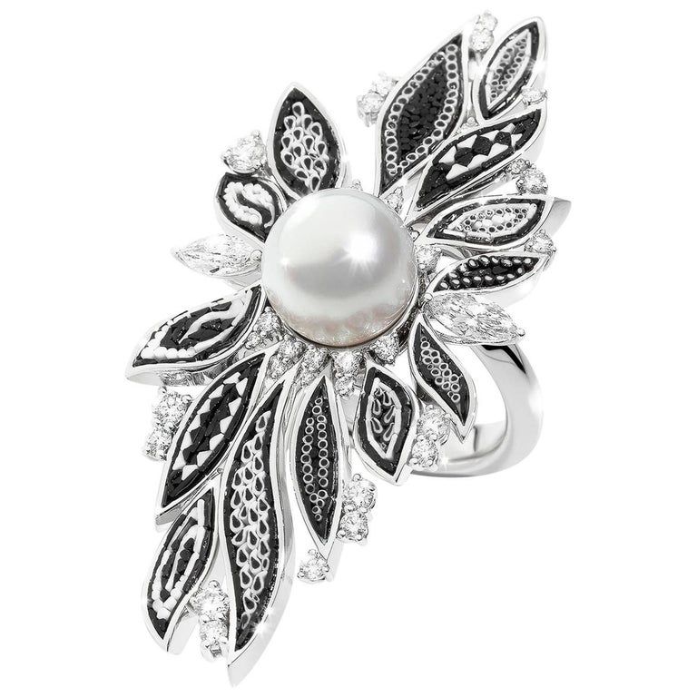 Pearl Black White Micromosaic Diamond Cocktail Ring For Sale
