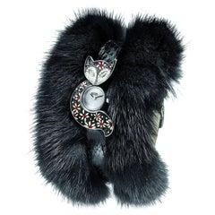 Sicis Flower Fox Black Micromosaic Fur Wristwatch