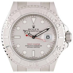 Rolex Stainless Steel Yacht-Master Platinum Dial Automatic Wristwatch