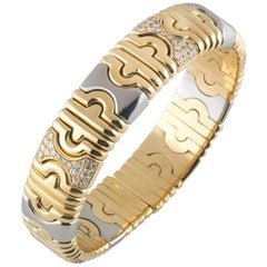 Bulgari Diamond, Gold, Stainless Steel Parentesi Bangle