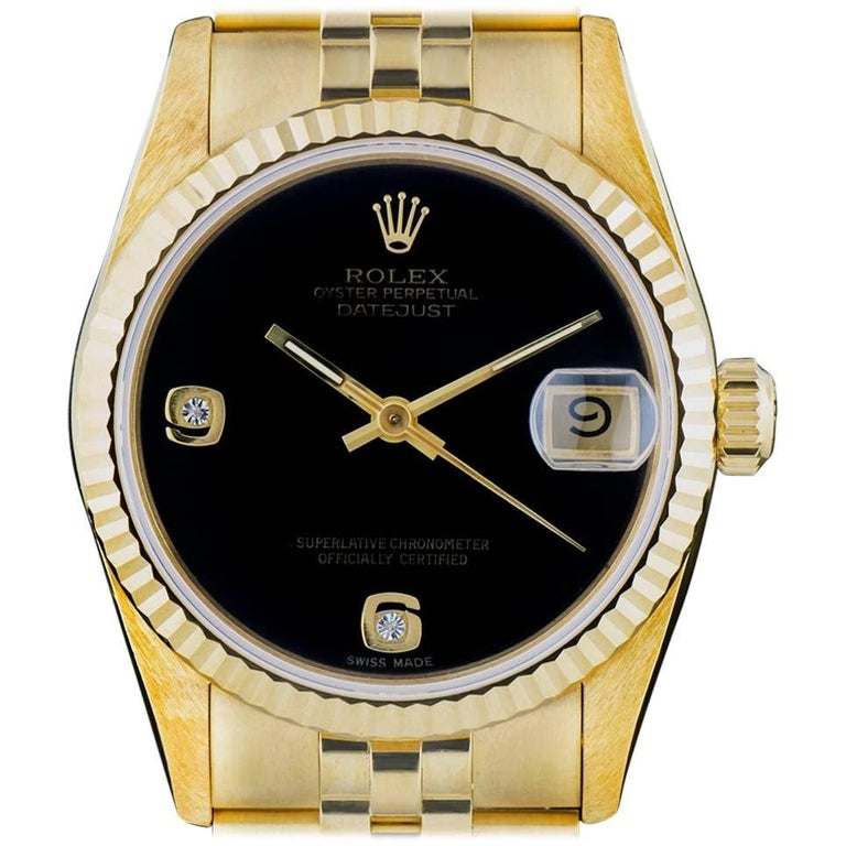 Rolex Yellow Gold Datejust Mid-Size Onyx Dial Automatic Wristwatch Ref 68278