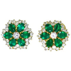 Emerald and Diamond Floral Earclips