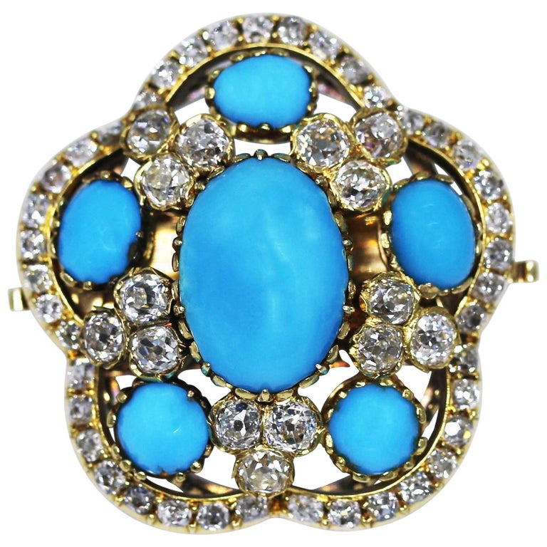 Victorian Turquoise and Diamond Brooch/Pendant