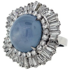 Cabochon Aquamarine Diamond Platinum Ring an Pendant
