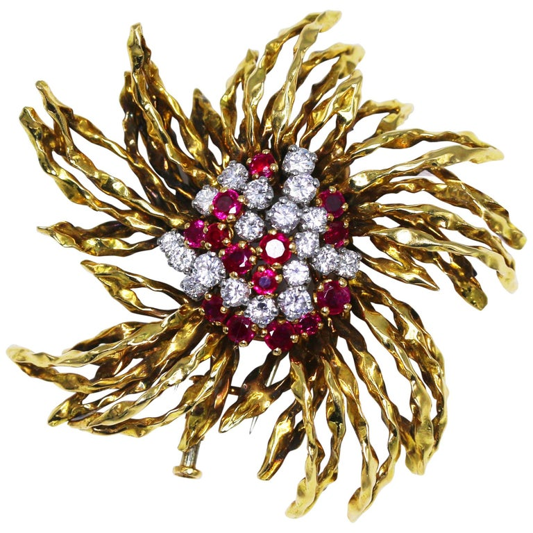 1960s French Ruby and Diamond Brooch